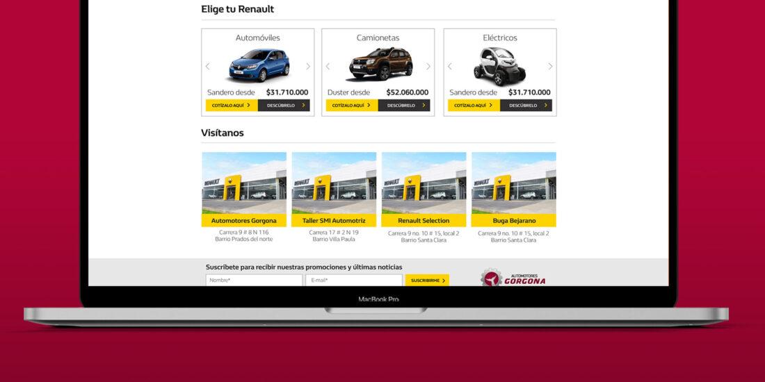 Diseño de pagina web Renault - Gorgona