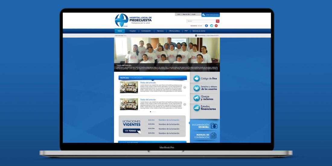 Diseño de portal web Hospital de Piedecuesta